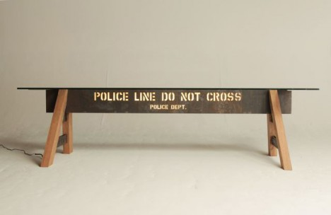 police barrier table light