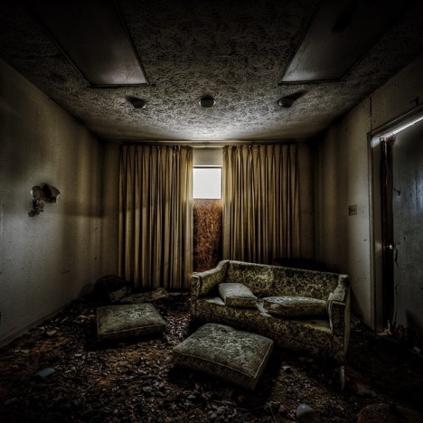 abandoned funeral home not-living room
