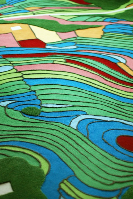 aerial rug colorful topography