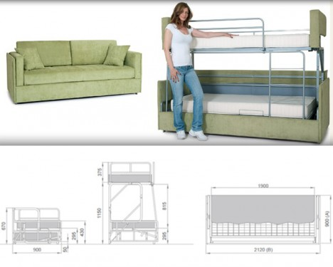 space saving sleepers sofas convert to bunk beds in seconds urbanist rh weburbanist com convertible sofa bunk bed uk convertible sofa bunk bed pozzi