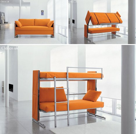 Space saving sleepers sofas convert to bunk beds in for Proteas sofa bunk bed