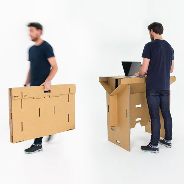 Refold Workstation Mobile Flat Pack Cardboard Standing