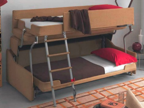 Space saving sleepers sofas convert to bunk beds in seconds urbanist Bunk bed couch convertible