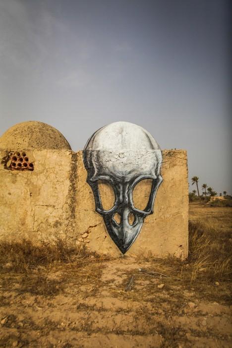 roa skull mural design