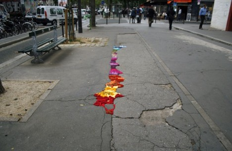 subtle street art yarn cracks