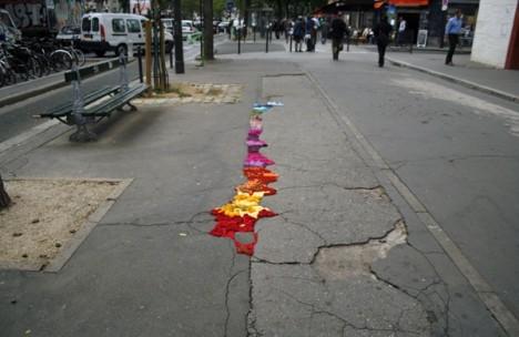 subtle street art yarn cracks