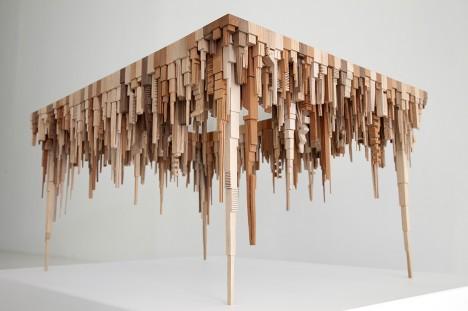 wood sculpture above below