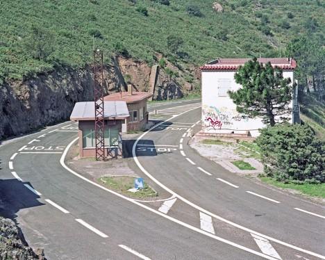 deserted street stop sign