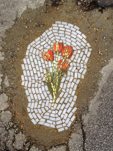 flower mosaic pot holes