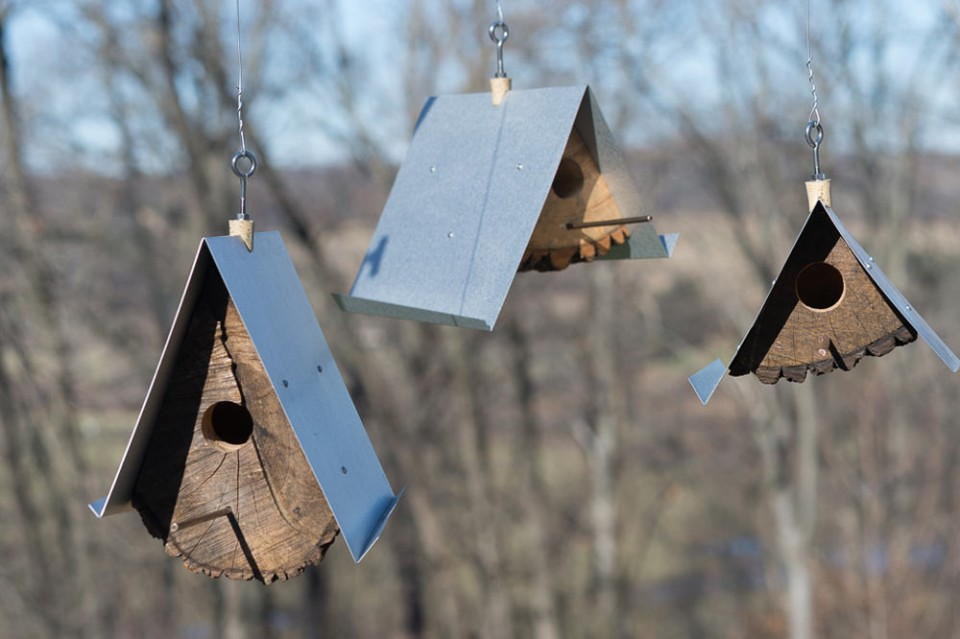 log unique wedge birdhouses