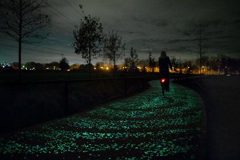 night cycling path glowing