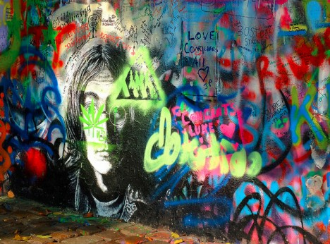 wall john lennon prague