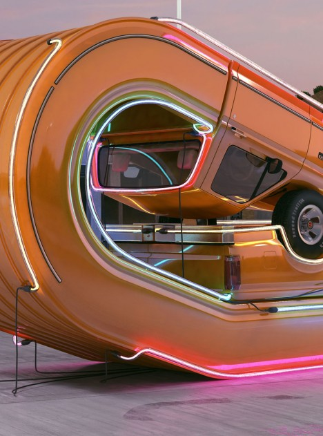 Chris-Labrooy-Ford-truck-graphic-art-neon-2