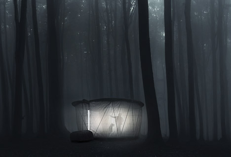 forest pavillion at night