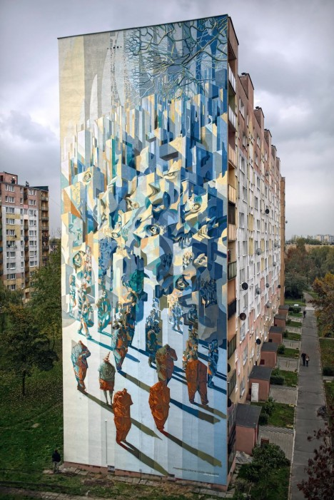 Towers Transformed Massive Geometric Mural Collaboration