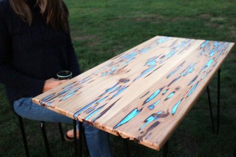 glow dark wood table