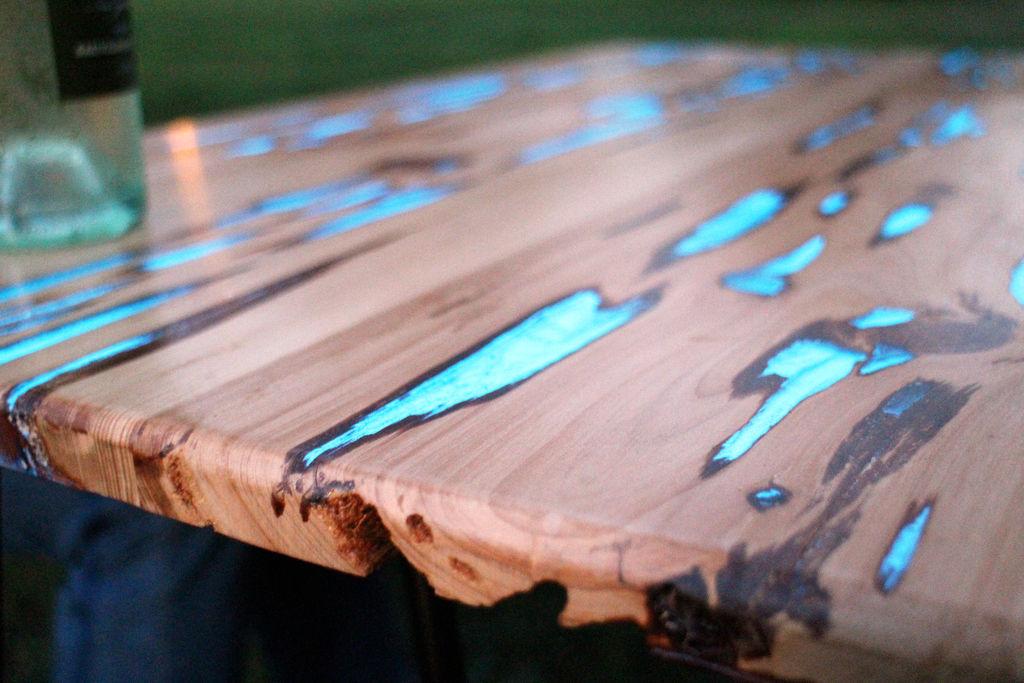 Glow In The Dark Wood photoluminescent furniture: filled wooden voids glow in dark