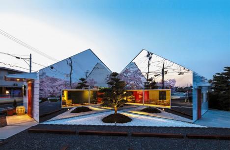 mirror buildings roadside cafe 2