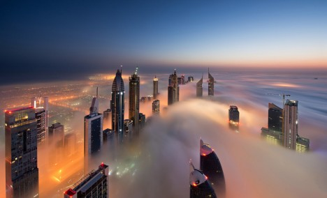dubai dawn cloud city