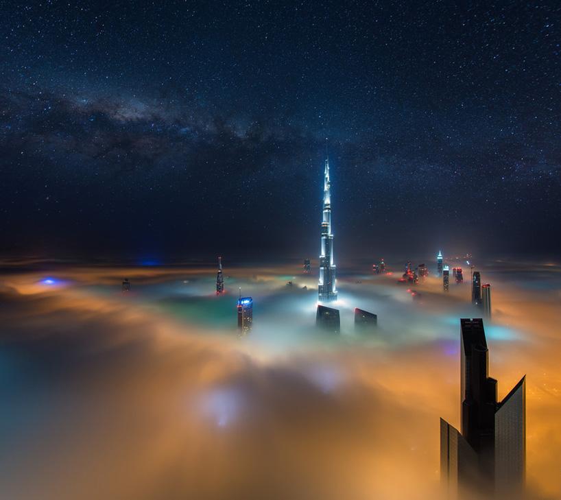 dubai skyscrapers above fog