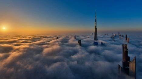 dubai sunrise cloud city