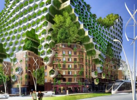 green honeycomb architecture design