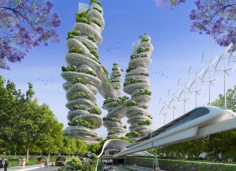 green vertical farm towers