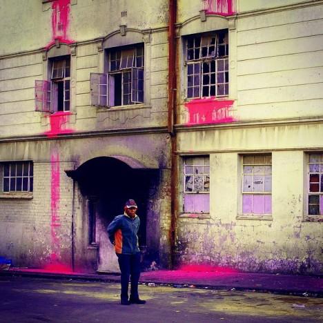 pink architectural urban intervention