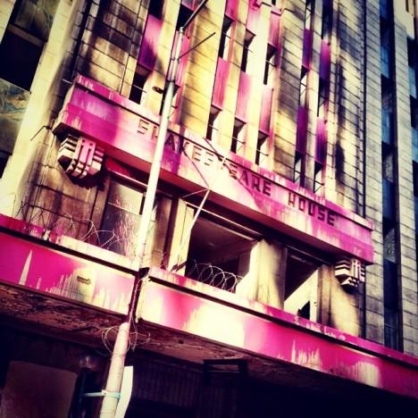 pink derelict structure splashed