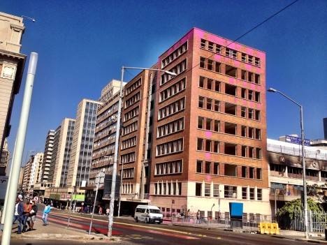 pinked out building protest