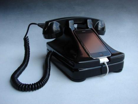 retro tech rotary iphone dock