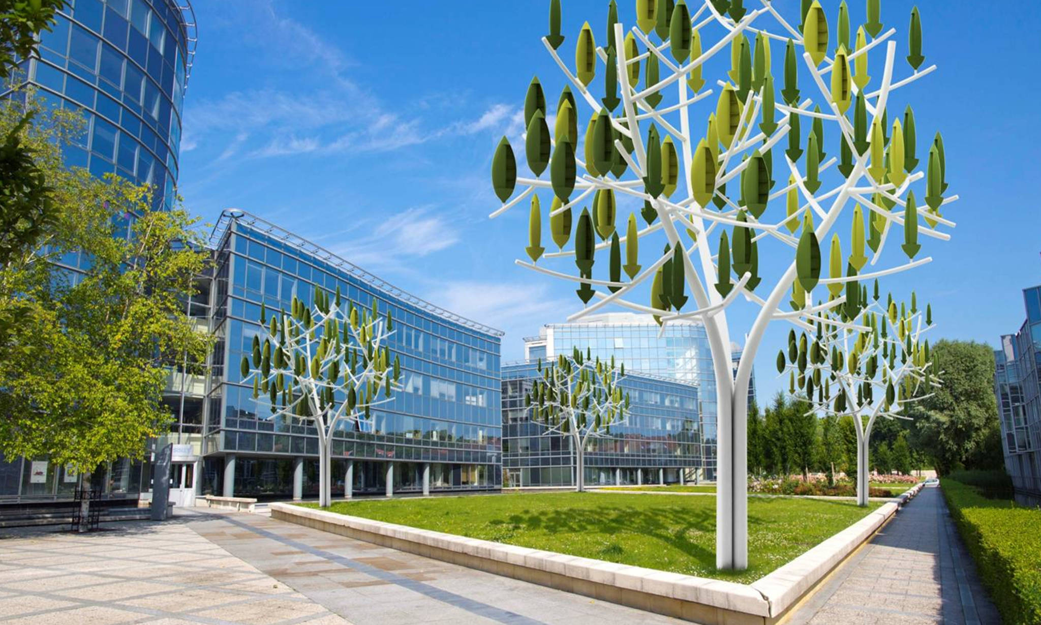 Power grows on trees wind energy via leafy green turbines Wind architecture