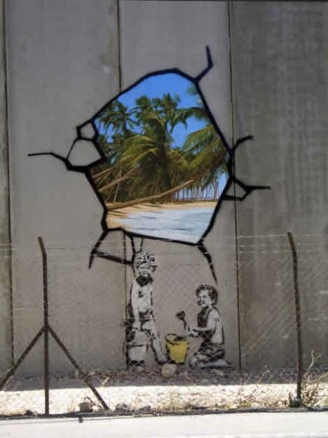 banksy wall mural palestine