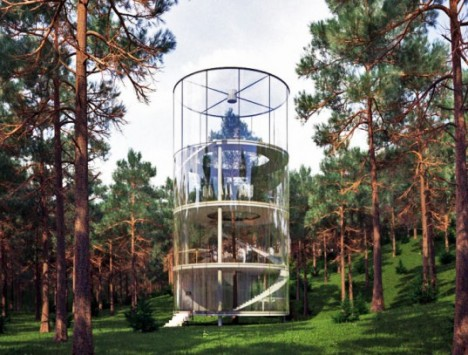cylindrical glass treehouse 1
