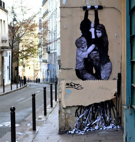 playful in paris life sized interactive street art urbanist. Black Bedroom Furniture Sets. Home Design Ideas