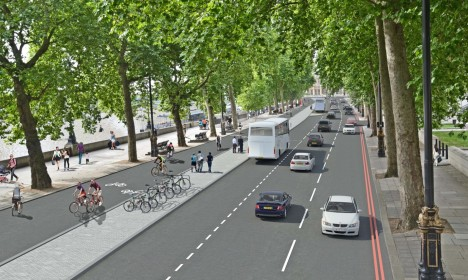 london separated bicycle pathway