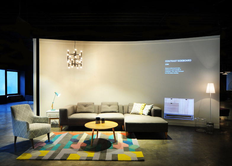 augmented showroom projections compliment physical products urbanist. Black Bedroom Furniture Sets. Home Design Ideas