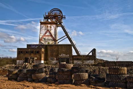 abandoned mine winding tower Annesley 9a