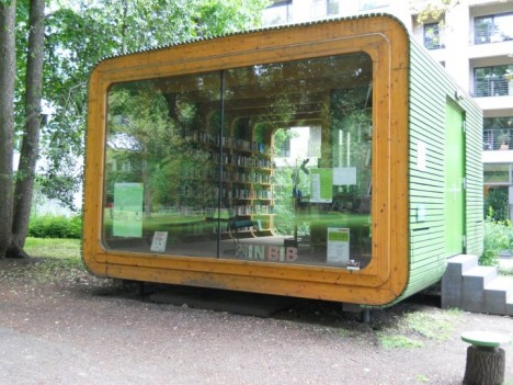 traveling library salvaged pop up
