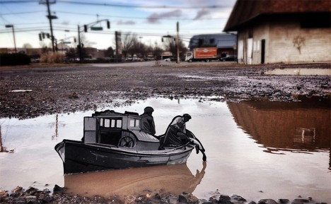 urban miniature fishing boat