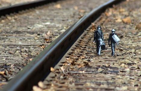 urban track train walkers