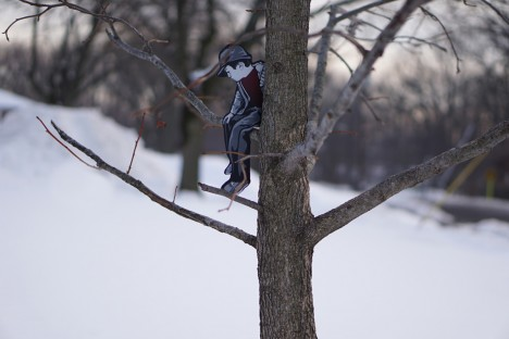 urban tree climbing boy