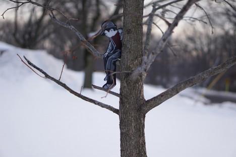 urban tree climbing boy