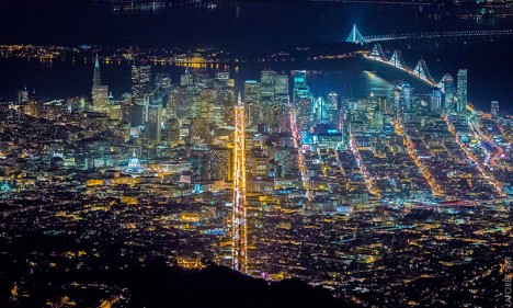 aerial downtown sf city