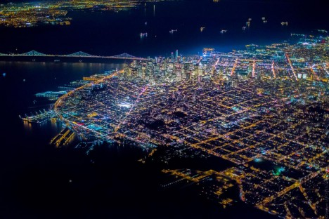 aerial sf downtown
