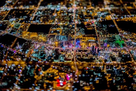 aerial vegas tilt shift