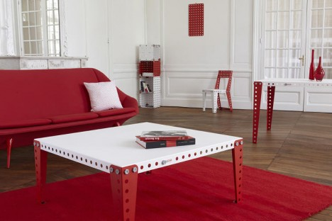 home furniture red white