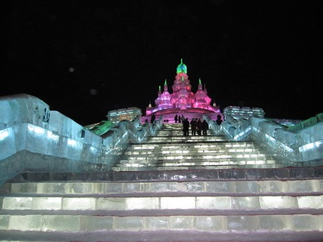 snow ice festival staircase