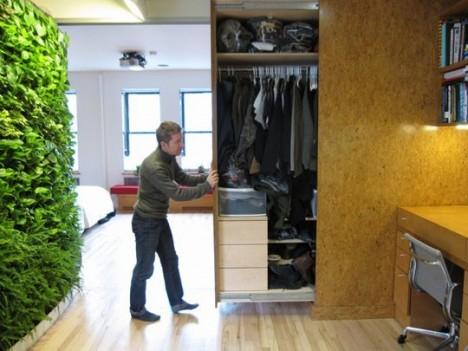 tiny apartment hideaway closet