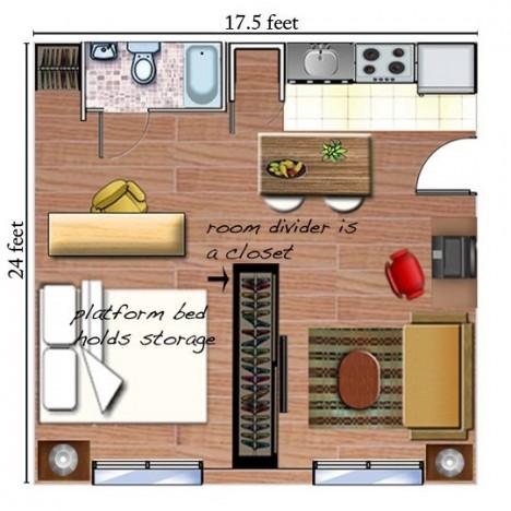 tiny apartments open plan 3
